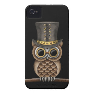 Cute Steampunk Owl on a Branch on Black Case-Mate iPhone 4 Cases