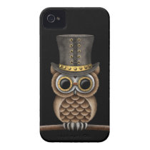 Cute Steampunk Owl on a Branch on Black iPhone 4 Cover