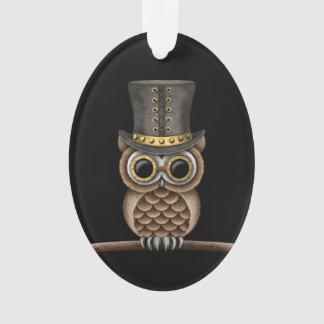 Cute Steampunk Owl on a Branch on Black Ornament