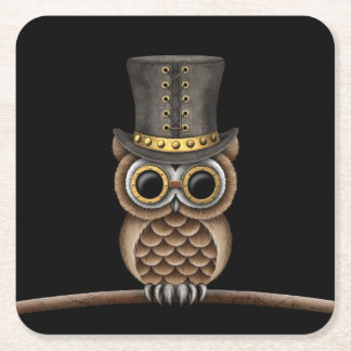 Cute Steampunk Owl on a Branch on Black Square Paper Coaster