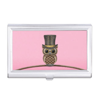 Cute Steampunk Owl on a Branch on Pink Business Card Holders