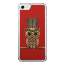 Cute Steampunk Owl on a Branch on Red Carved iPhone 8/7 Case