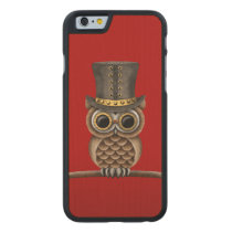 Cute Steampunk Owl on a Branch on Red Carved Maple iPhone 6 Slim Case
