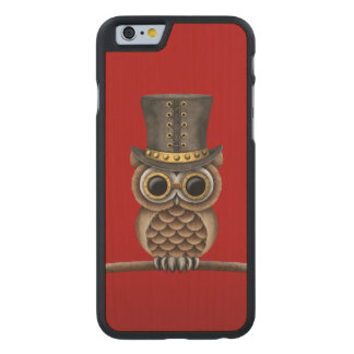 Cute Steampunk Owl on a Branch on Red Carved® Maple iPhone 6 Slim Case