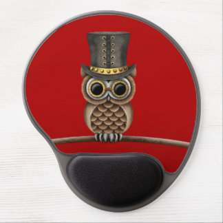 Cute Steampunk Owl on a Branch on Red Gel Mousepads