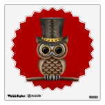 Cute Steampunk Owl on a Branch on Red Room Stickers