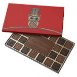 Cute Steampunk Owl on a Branch on Red 45 Piece Box Of Chocolates