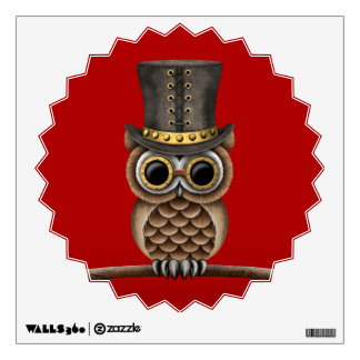 Cute Steampunk Owl on a Branch on Red Wall Sticker