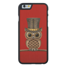 Cute Steampunk Owl on a Branch on Red Carved® Maple iPhone 6 Case