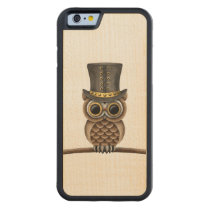 Cute Steampunk Owl on a Branch on White Carved Maple iPhone 6 Bumper Case