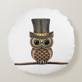 Cute Steampunk Owl on a Branch on White Round Pillow