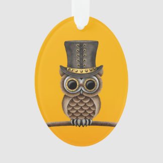 Cute Steampunk Owl on a Branch on Yellow Ornament