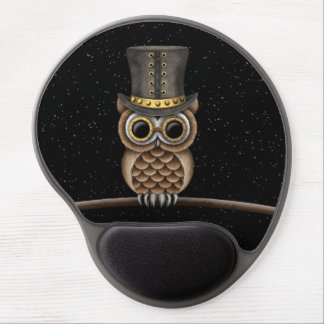 Cute Steampunk Owl on a Branch with Stars Gel Mouse Pad