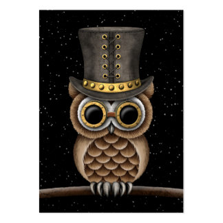 Cute Steampunk Owl on a Branch with Stars Large Business Card
