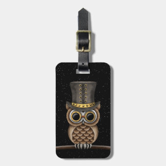 Cute Steampunk Owl on a Branch with Stars Luggage Tag