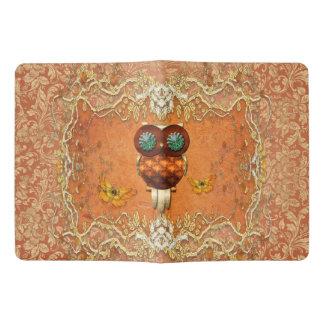 Cute steampunk owl on vintage background extra large moleskine notebook