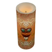 Cute steampunk owl on vintage background flameless candle