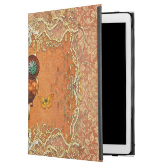 "Cute steampunk owl on vintage background iPad pro 12.9"" case"
