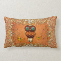 Cute steampunk owl on vintage background lumbar pillow