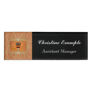 Cute steampunk owl on vintage background name tag