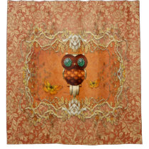 Cute steampunk owl on vintage background shower curtain