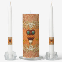 Cute steampunk owl on vintage background unity candle set
