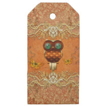 Cute steampunk owl on vintage background wooden gift tags