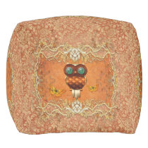 Cute steampunk owl pouf