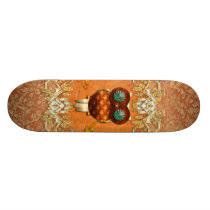 Cute steampunk owl skateboard