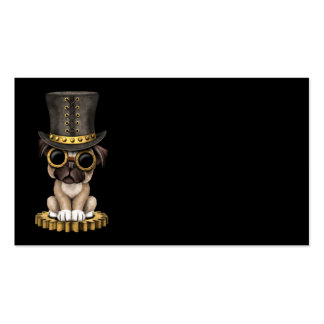 Cute Steampunk Pug Puppy Dog, black Business Card
