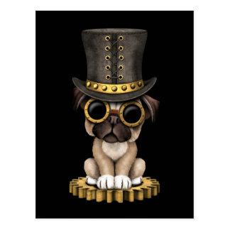 Cute Steampunk Pug Puppy Dog, black Postcard