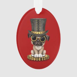 Cute Steampunk Pug Puppy Dog, red
