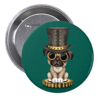 Cute Steampunk Pug Puppy Dog, teal Button