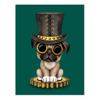 Cute Steampunk Pug Puppy Dog, teal Postcard