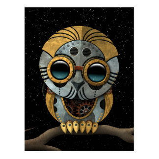 Cute Steampunk Robotic Baby Owl Postcard