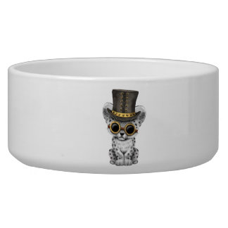 Cute Steampunk Snow Leopard Cub Bowl