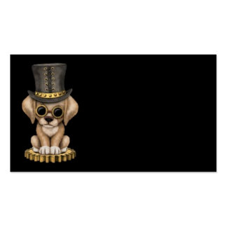 Cute Steampunk Yellow Lab Puppy Dog, black Business Card Templates
