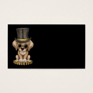 Cute Steampunk Yellow Lab Puppy Dog, black Business Card