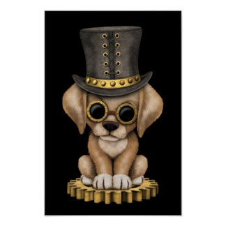 Cute Steampunk Yellow Lab Puppy Dog, black Poster