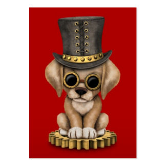 Cute Steampunk Yellow Lab Puppy Dog, red Business Card Templates