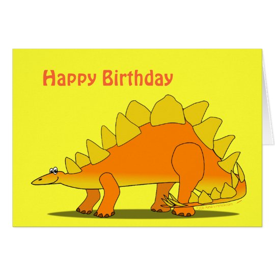 Cute Stegosaurus Dinosaur Birthday Card Template