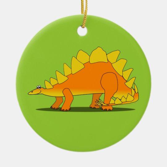 Cute Stegosaurus Dinosaur Cartoon Template Ceramic Ornament