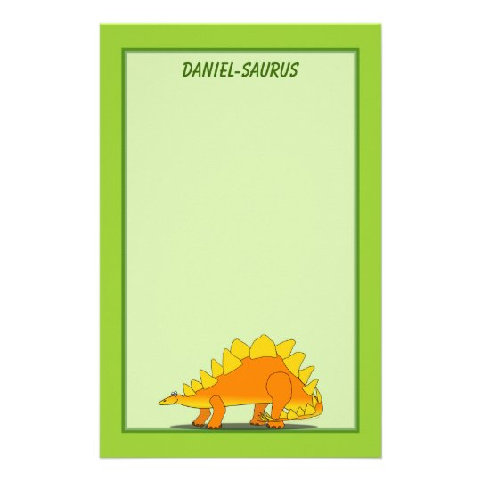 Cute Stegosaurus Dinosaur Cartoon Template Stationery