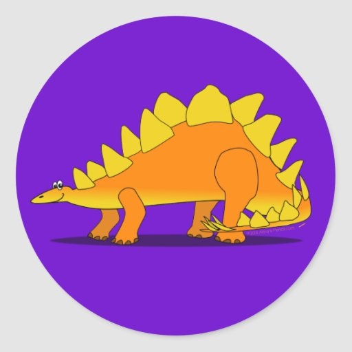 Cute Stegosaurus Dinosaur Cartoon Template Classic Round Sticker