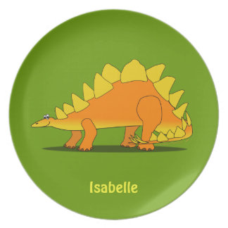 Cute Stegosaurus Dinosaur Custom Name Dinner Plate