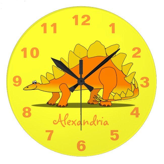 Cute Stegosaurus Dinosaur Personalized Kids Clock