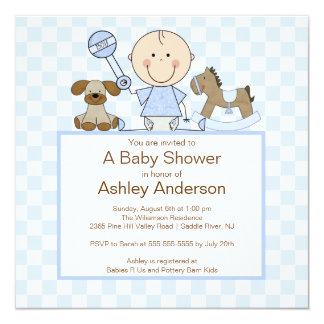Cute Stick Figure Boy Baby Shower Invitation
