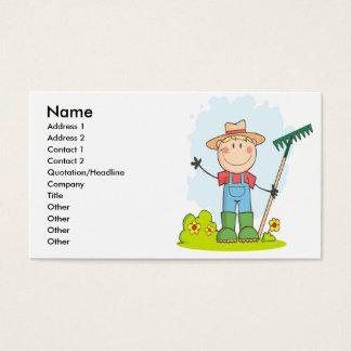 cute stick figure boy gardener farmer business card