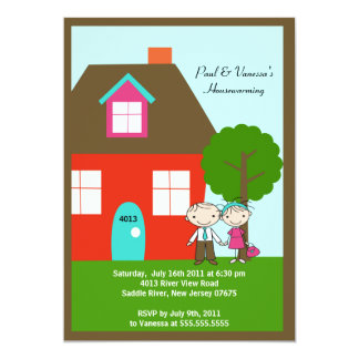 CUTE Stick Figure Couple ~ Housewarming 5x7 Paper Invitation Card