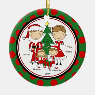 Cute Stick Figure Family of 4 Christmas Ornament